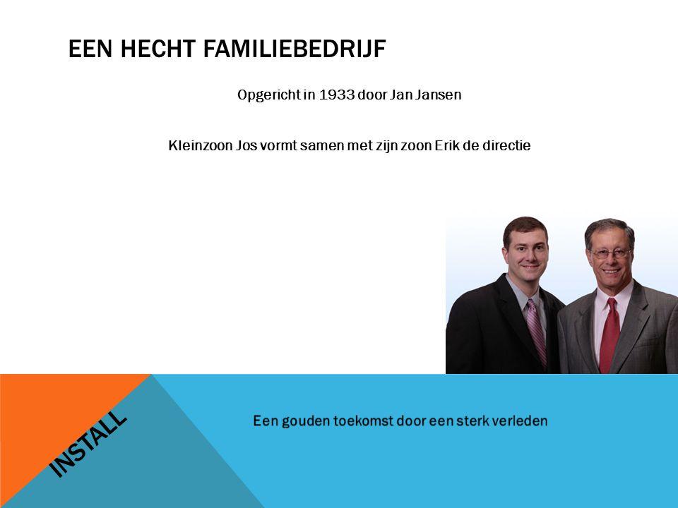 EEN HECHT FAMILIEBEDRIJF Opgericht in 1933 door Jan Jansen Kleinzoon Jos vormt samen met zijn zoon Erik de directie INSTALL
