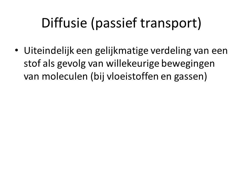 Diffusie (passief transport) Uiteindelijk een gelijkmatige verdeling van een stof als gevolg van willekeurige bewegingen van moleculen (bij vloeistoff
