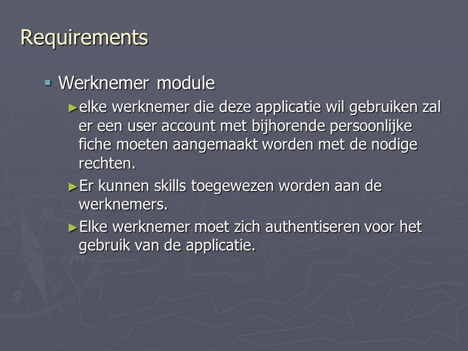 Requirements  Werknemer module ► elke werknemer die deze applicatie wil gebruiken zal er een user account met bijhorende persoonlijke fiche moeten aangemaakt worden met de nodige rechten.