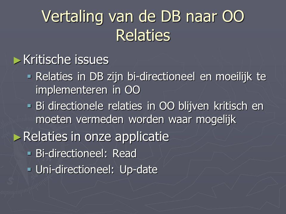 Vertaling van de DB naar OO Relaties ► Kritische issues  Relaties in DB zijn bi-directioneel en moeilijk te implementeren in OO  Bi directionele relaties in OO blijven kritisch en moeten vermeden worden waar mogelijk ► Relaties in onze applicatie  Bi-directioneel: Read  Uni-directioneel: Up-date