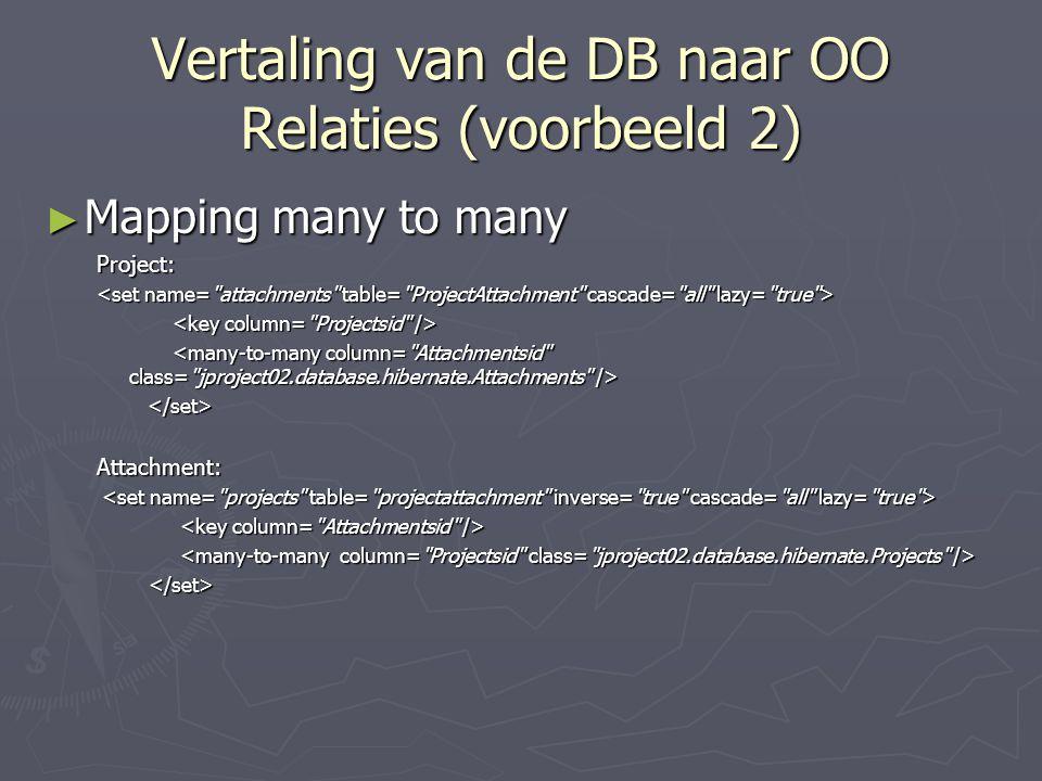 Vertaling van de DB naar OO Relaties (voorbeeld 2) ► Mapping many to many Project: Attachment: </set>