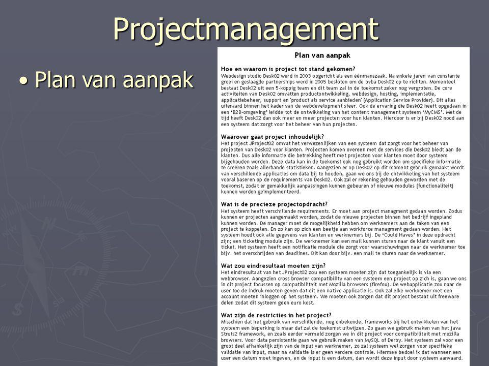 Projectmanagement Plan van aanpak Plan van aanpak
