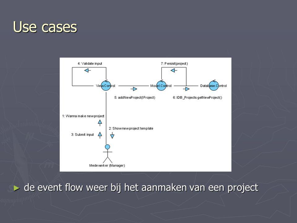 ► de event flow weer bij het aanmaken van een project