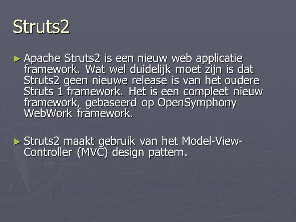 Struts2 ► Apache Struts2 is een nieuw web applicatie framework.