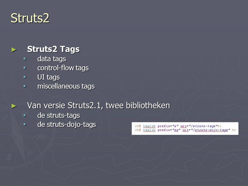 Struts2 ► Struts2 Tags  data tags  control-flow tags  UI tags  miscellaneous tags ► Van versie Struts2.1, twee bibliotheken  de struts-tags  de struts-dojo-tags