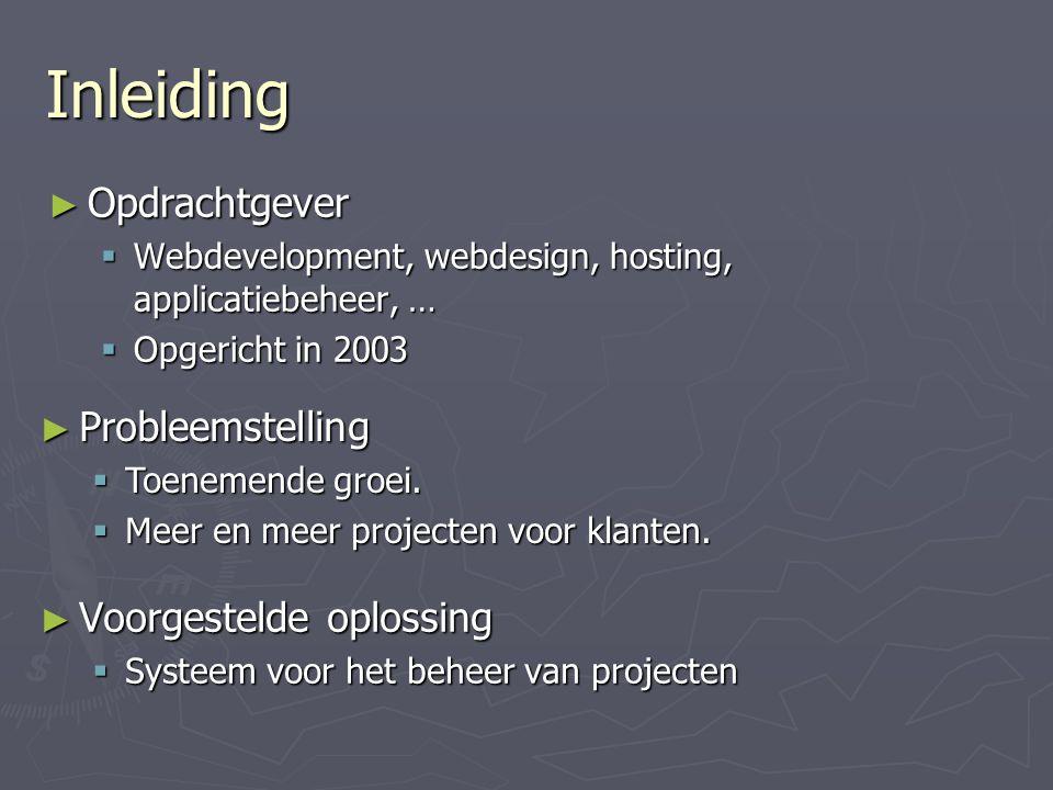 Inleiding ► Opdrachtgever  Webdevelopment, webdesign, hosting, applicatiebeheer, …  Opgericht in 2003 ► Voorgestelde oplossing  Systeem voor het beheer van projecten ► Probleemstelling  Toenemende groei.