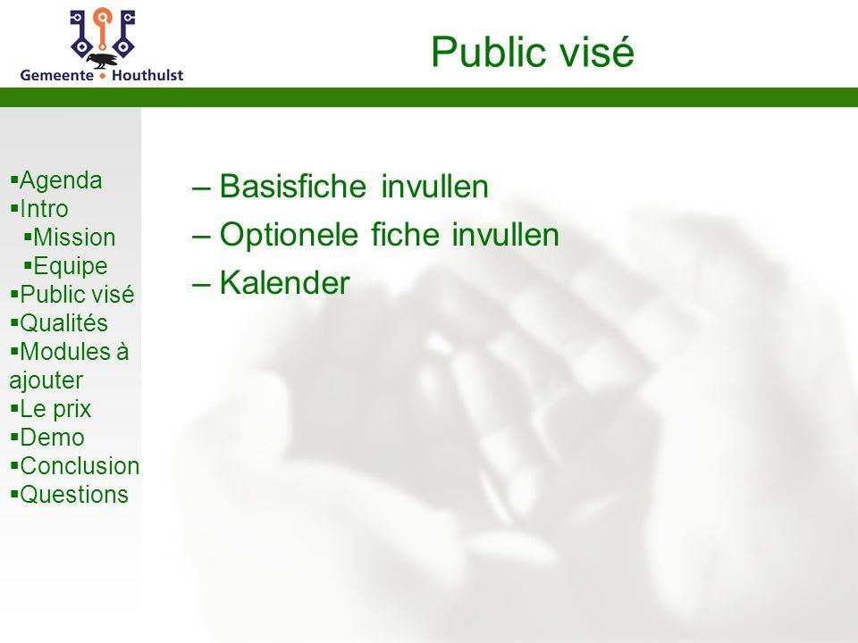  Agenda  Intro  Mission  Equipe  Public visé  Qualités  Modules à ajouter  Le prix  Demo  Conclusion  Questions Public visé –Basisfiche inv