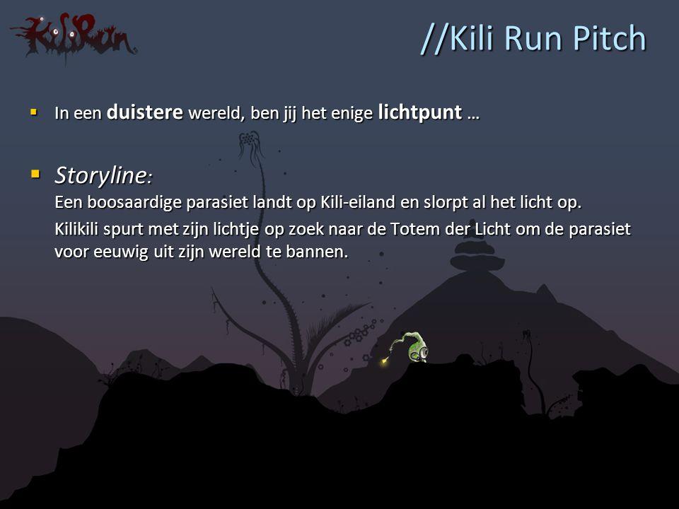 //Kili Run Pitch  In een duistere wereld, ben jij het enige lichtpunt …  Storyline : Een boosaardige parasiet landt op Kili-eiland en slorpt al het