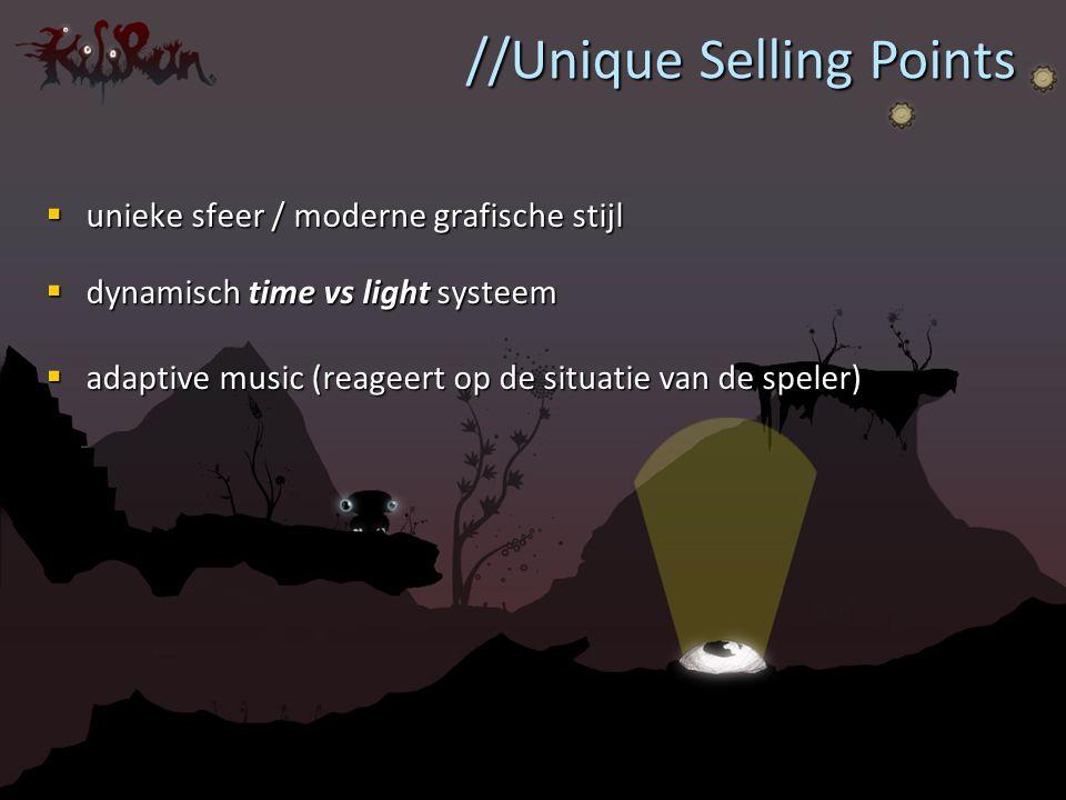 unieke sfeer / moderne grafische stijl  dynamisch time vs light systeem  adaptive music (reageert op de situatie van de speler) //Unique Selling P