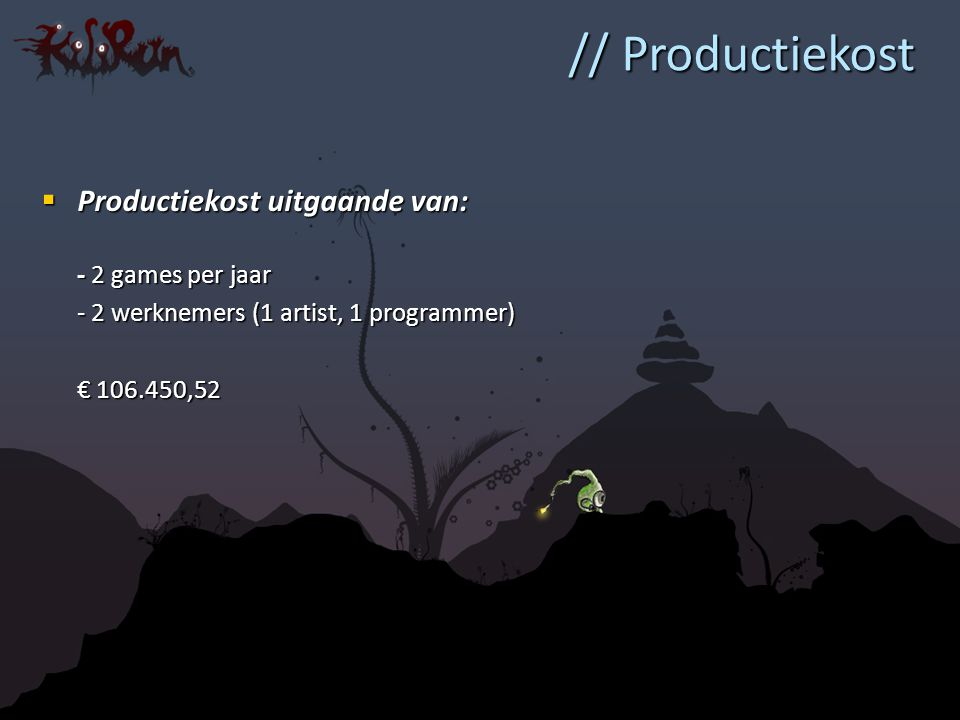 // Productiekost  Productiekost uitgaande van: - 2 games per jaar - 2 werknemers (1 artist, 1 programmer) € 106.450,52