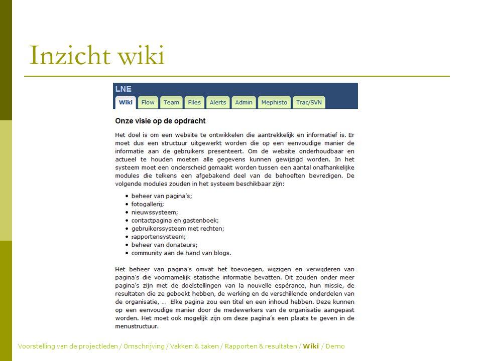 Inzicht wiki Voorstelling van de projectleden / Omschrijving / Vakken & taken / Rapporten & resultaten / Wiki / Demo