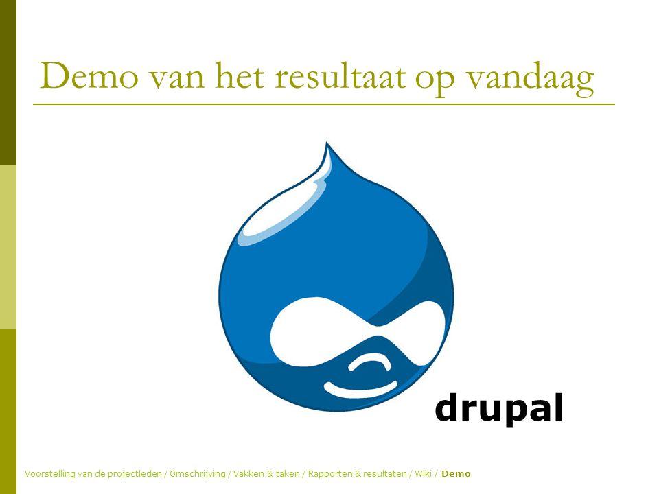 Demo van het resultaat op vandaag Voorstelling van de projectleden / Omschrijving / Vakken & taken / Rapporten & resultaten / Wiki / Demo drupal