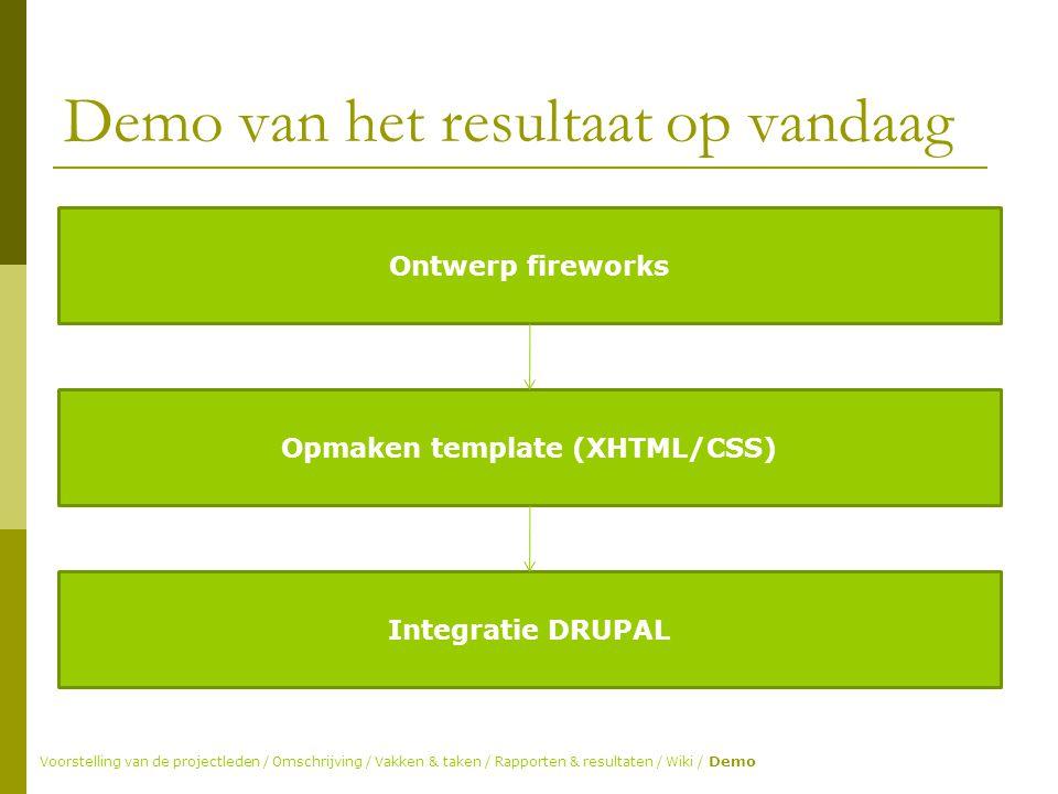 Demo van het resultaat op vandaag Voorstelling van de projectleden / Omschrijving / Vakken & taken / Rapporten & resultaten / Wiki / Demo Ontwerp fireworks Opmaken template (XHTML/CSS) Integratie DRUPAL