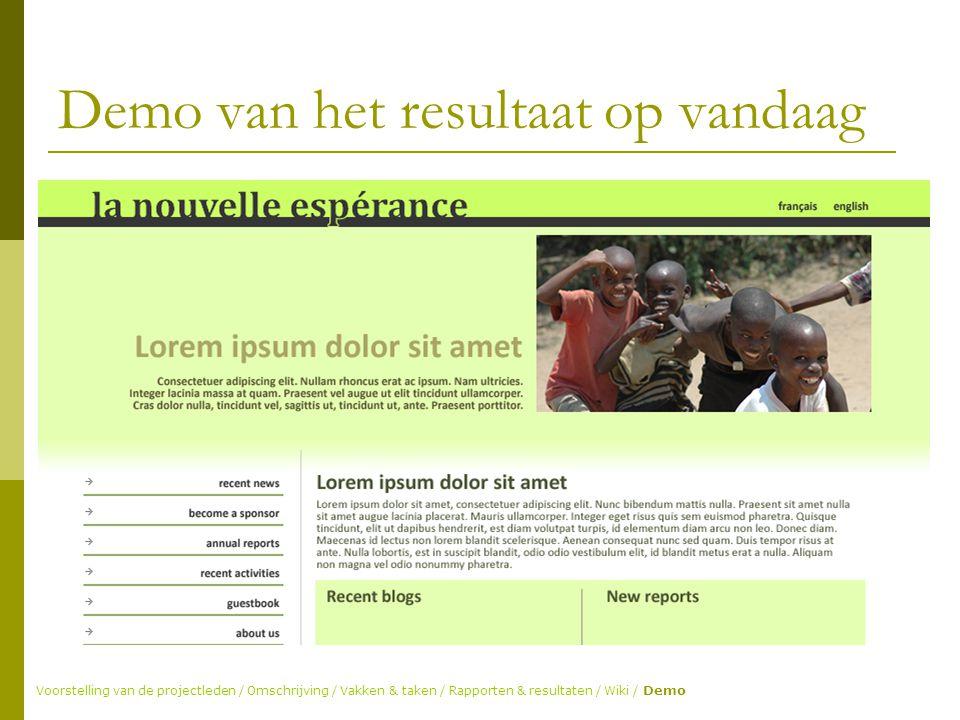 Demo van het resultaat op vandaag Voorstelling van de projectleden / Omschrijving / Vakken & taken / Rapporten & resultaten / Wiki / Demo