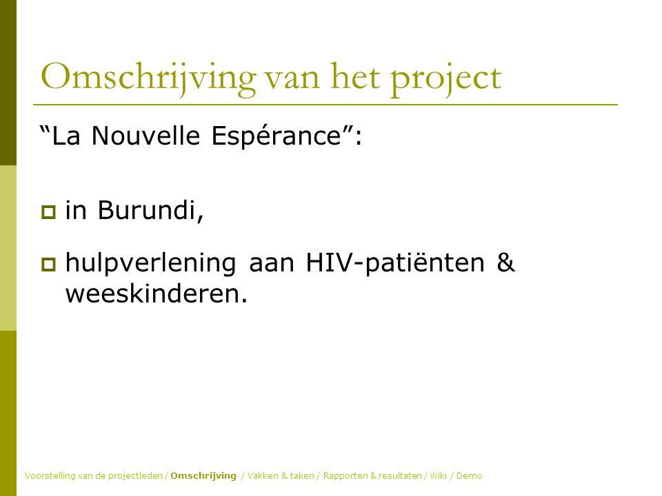 Omschrijving van het project La Nouvelle Espérance :  in Burundi,  hulpverlening aan HIV-patiënten & weeskinderen.