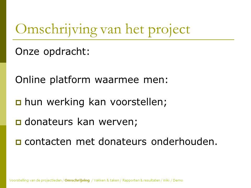 Omschrijving van het project Onze opdracht: Online platform waarmee men:  hun werking kan voorstellen;  donateurs kan werven;  contacten met donateurs onderhouden.