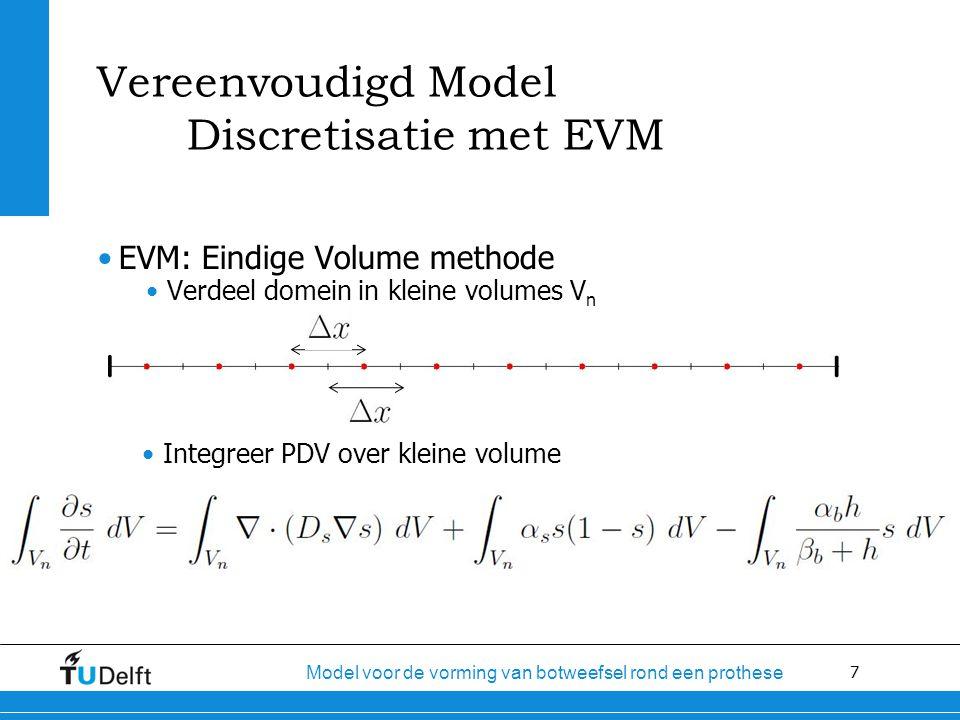 7 Model voor de vorming van botweefsel rond een prothese Vereenvoudigd Model Discretisatie met EVM EVM: Eindige Volume methode Verdeel domein in kleine volumes V n Integreer PDV over kleine volume