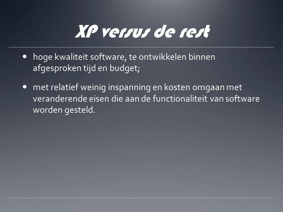 XP versus de rest hoge kwaliteit software, te ontwikkelen binnen afgesproken tijd en budget; met relatief weinig inspanning en kosten omgaan met veranderende eisen die aan de functionaliteit van software worden gesteld.