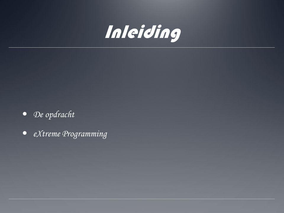 Inleiding De opdracht eXtreme Programming