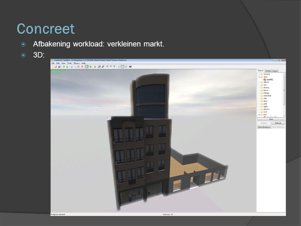 Concreet  Afbakening workload: verkleinen markt.  3D: