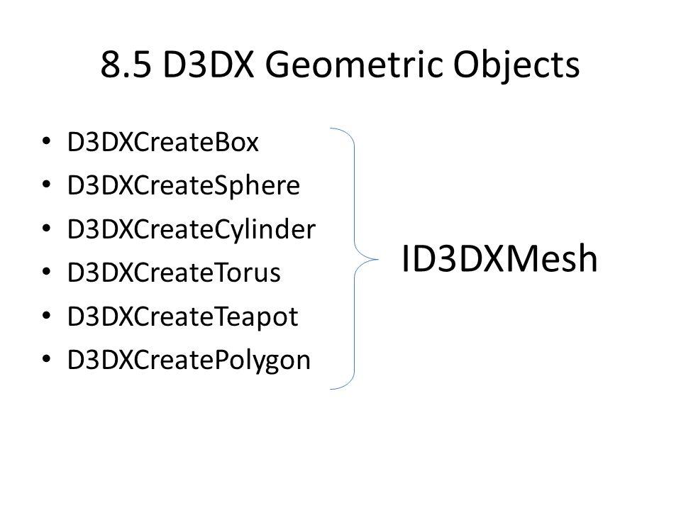 14 Meshes (pag 351) ID3DXMesh interface ID3DXBaseMesh ID3DXMeshID3DXSPMeshID3DXPMesh