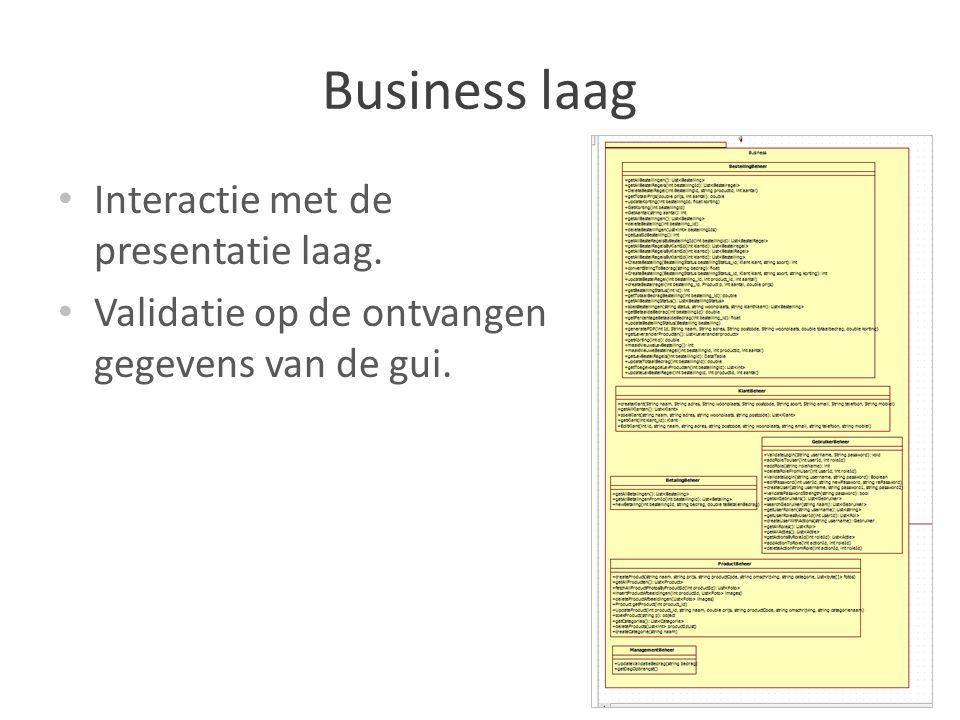 Business laag Interactie met de presentatie laag. Validatie op de ontvangen gegevens van de gui.