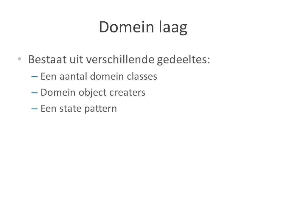 Domein laag Bestaat uit verschillende gedeeltes: – Een aantal domein classes – Domein object creaters – Een state pattern