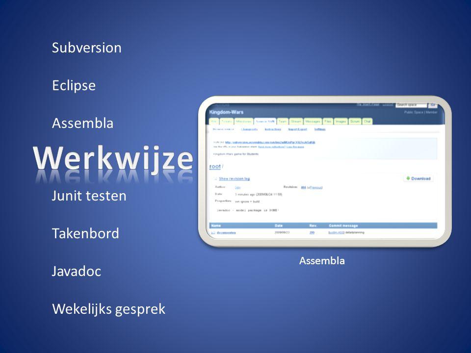 Subversion Eclipse Assembla Junit testen Takenbord Javadoc Wekelijks gesprek Assembla