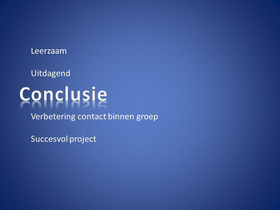 Leerzaam Uitdagend Verbetering contact binnen groep Succesvol project