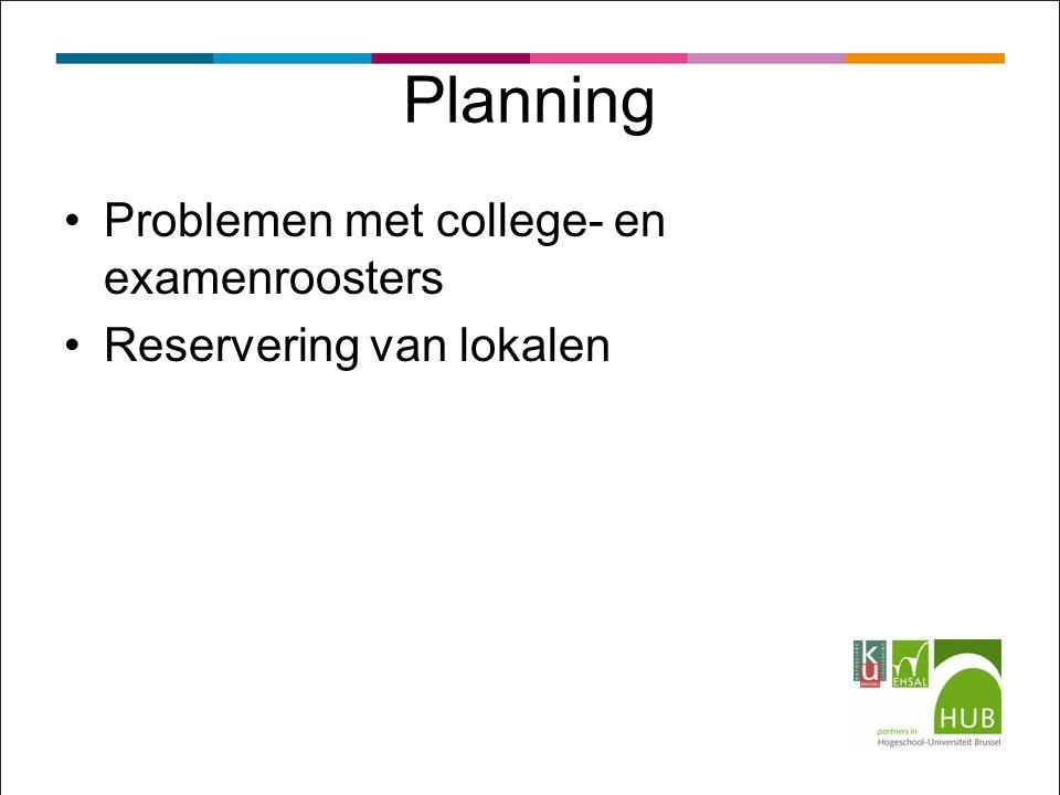 Problemen met college- en examenroosters Reservering van lokalen Planning