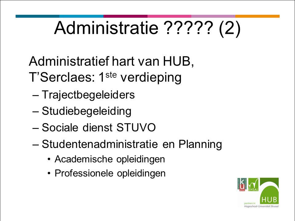 Administratie ????? (2) Administratief hart van HUB, T'Serclaes: 1 ste verdieping –Trajectbegeleiders –Studiebegeleiding –Sociale dienst STUVO –Studen