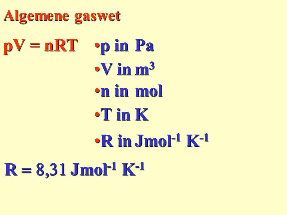 Algemene gaswet pV = nRT R  Jmol -1 K -1 p inp inPa V inV in m3m3m3m3 n inn inmol R inR in Jmol -1 K -1 T inT inK