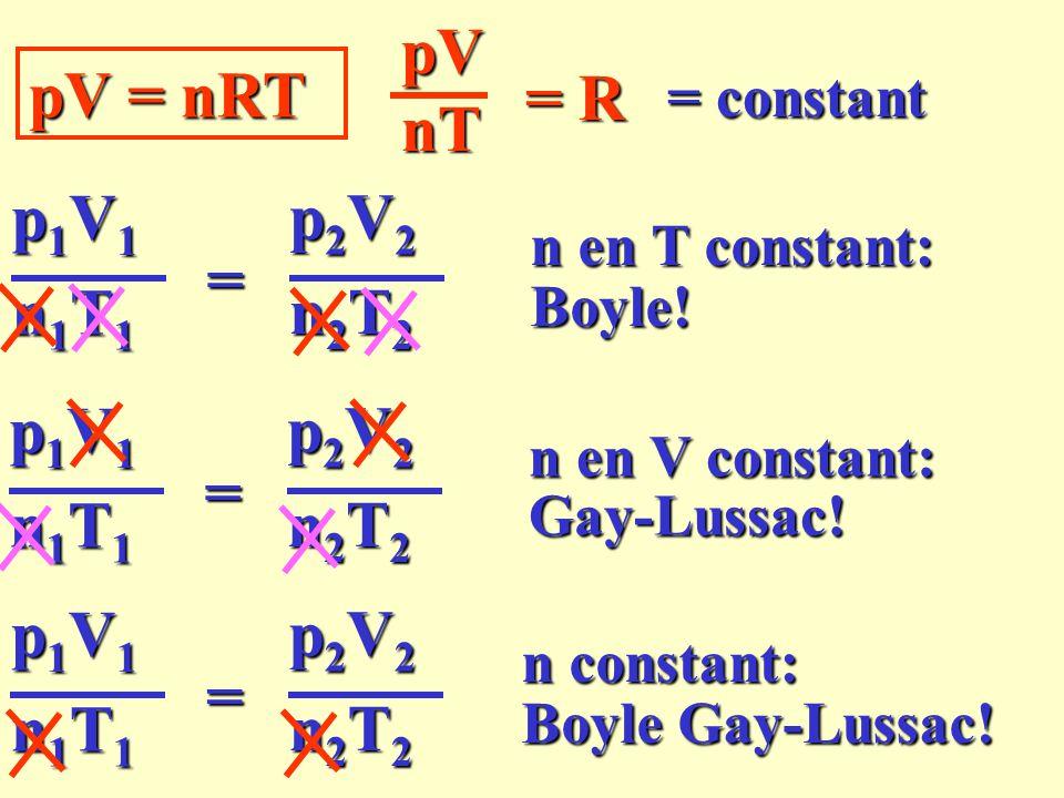 pV = nRT n en T constant: pVnT = R p1V1p1V1p1V1p1V1 n1T1n1T1n1T1n1T1 p2V2p2V2p2V2p2V2 n2T2n2T2n2T2n2T2 = Boyle! n en V constant: p1V1p1V1p1V1p1V1 n1T1