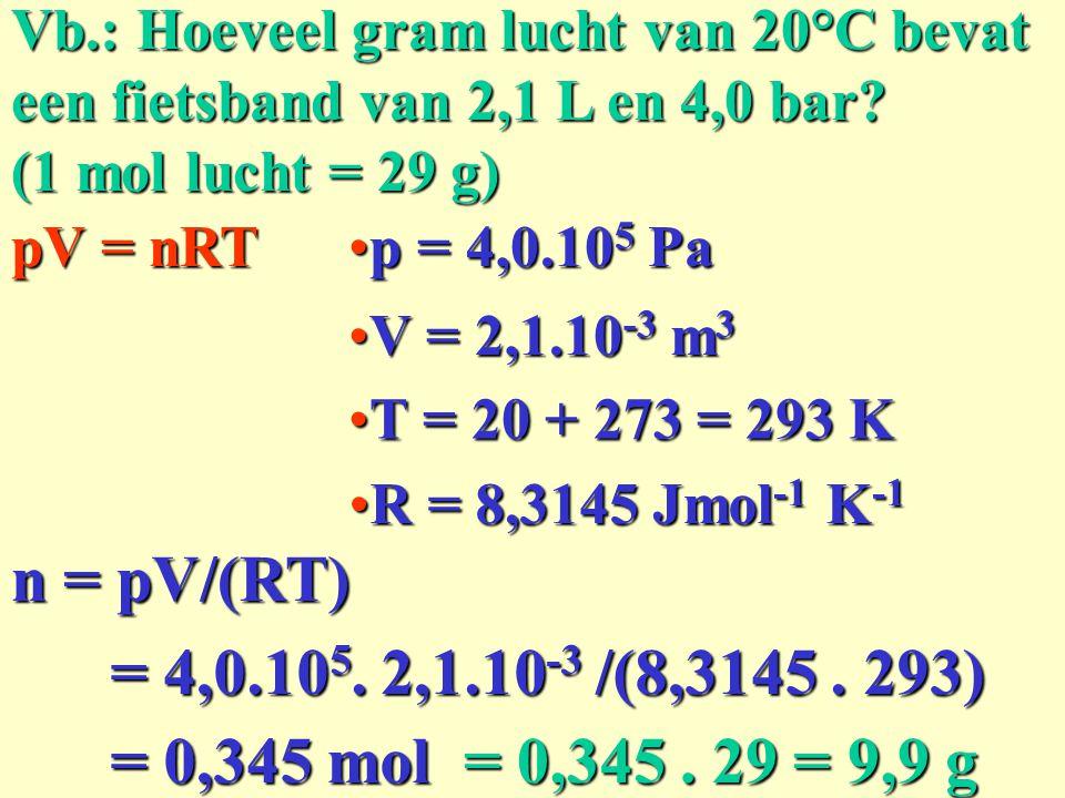 Vb.: Hoeveel gram lucht van 20°C bevat een fietsband van 2,1 L en 4,0 bar? (1 mol lucht = 29 g) pV = nRT n = pV/(RT) p = 4,0.10 5 Pap = 4,0.10 5 Pa =