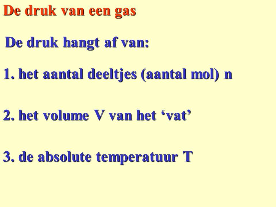1. het aantal deeltjes (aantal mol) n De druk van een gas De druk hangt af van: 2. het volume V van het 'vat' 3. de absolute temperatuur T