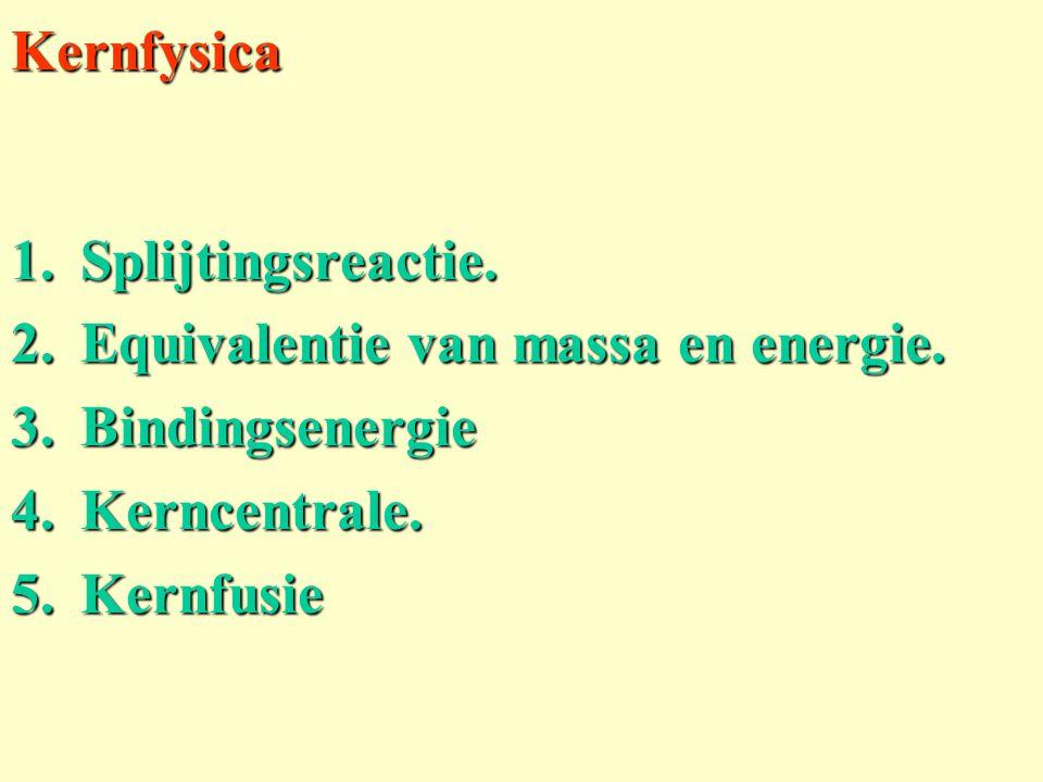 Kernfysica 1.Splijtingsreactie. 2.Equivalentie van massa en energie. 3.Bindingsenergie 4.Kerncentrale. 5.Kernfusie