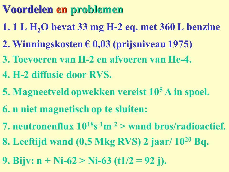Voordelen en problemen 1. 1 L H 2 O bevat 33 mg H-2 eq. met 360 L benzine 2. Winningskosten € 0,03 (prijsniveau 1975) 3. Toevoeren van H-2 en afvoeren