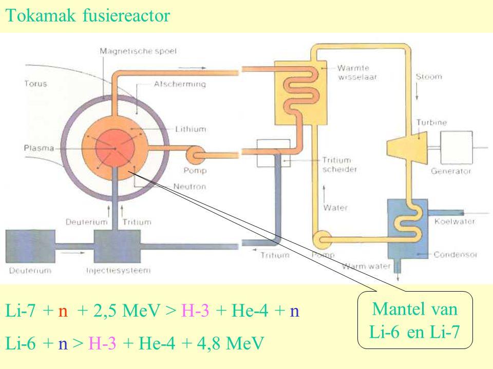 Tokamak fusiereactor Li-7 + n + 2,5 MeV > H-3 + He-4 + n Li-6 + n > H-3 + He-4 + 4,8 MeV Mantel van Li-6 en Li-7