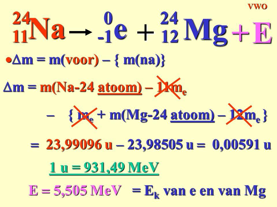 11 24 24Na0e + 12 Mg +E { m e + m(Mg-24 atoom) – 12m e }  m = m(Na-24 atoom) – 11m e –  23,99096 u – 23,98505 u  0,00591 u E  5,505 MeV 1 u = 9
