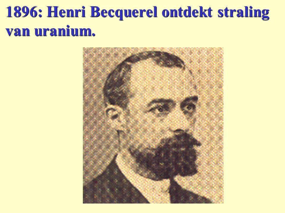 1896: Henri Becquerel ontdekt straling van uranium.