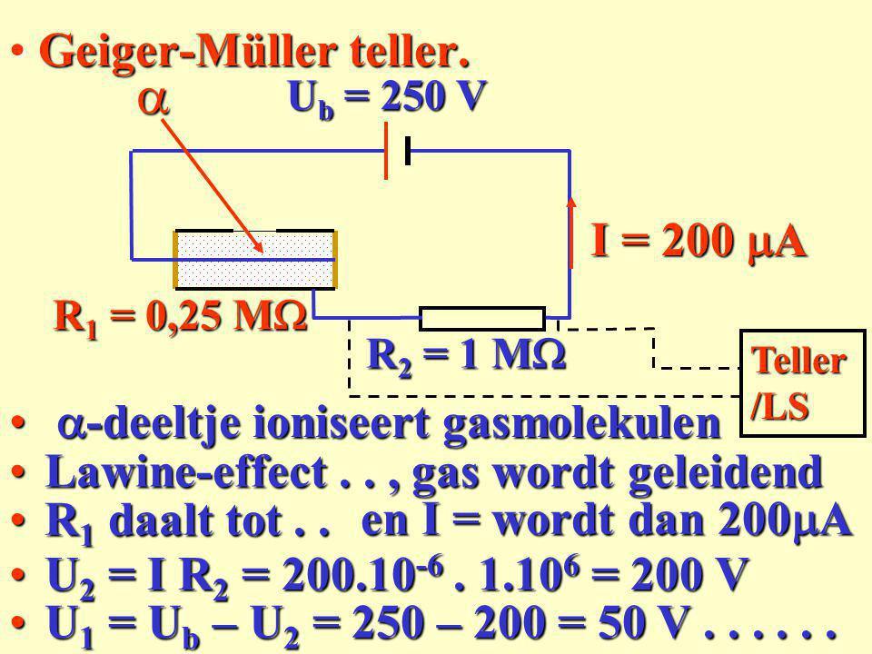 Geiger-Müller teller: (serieschakeling)Geiger-Müller teller: (serieschakeling) Geen gesloten stroomkringGeen gesloten stroomkring Ub = 250 V R 2 = 1 M  R 1 = oo I = 0I = 0 U 2 = I R 2 = 0 VU 2 = I R 2 = 0 V Gas Teller/ LS