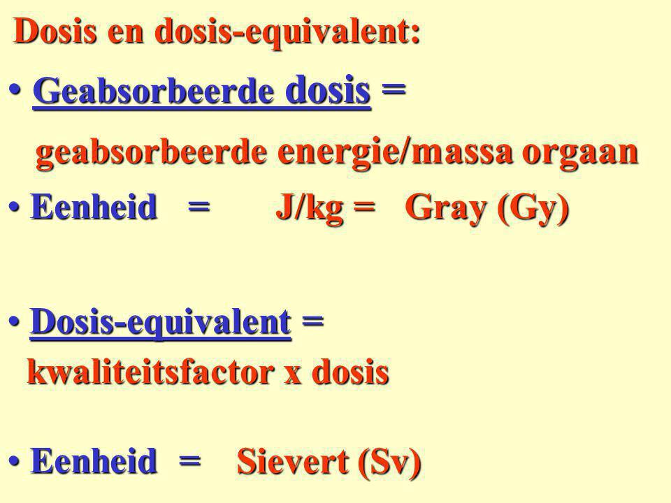 Activiteit (aantal deeltjes/s) Activiteit (aantal deeltjes/s) energie van de deeltjes energie van de deeltjes kwaliteitsfactor kwaliteitsfactor 1 voor ,  resp.