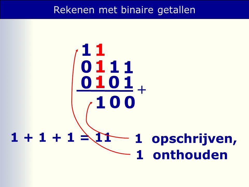 1 opschrijven, 1 + 1 + 1 = 11 1 onthouden 1 1 1 0 1 1 0 0 0 0 1 1 1 1 1