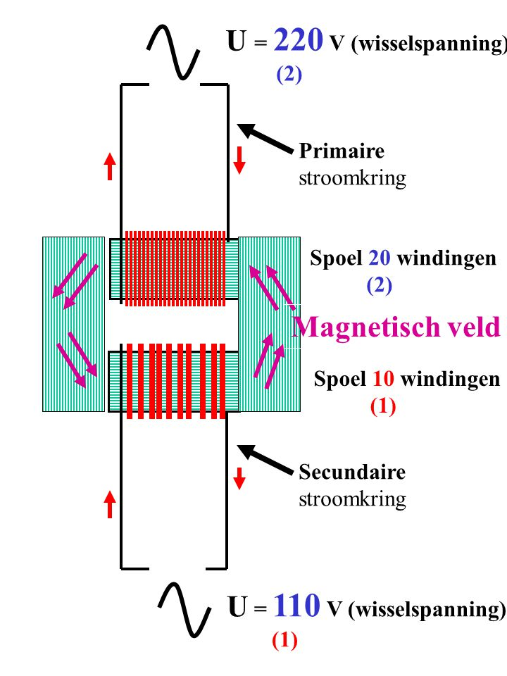 Primaire stroomkring Secundaire stroomkring U = 220 V (wisselspanning) (2) U = 110 V (wisselspanning) (1) Spoel 20 windingen (2) Spoel 10 windingen (1