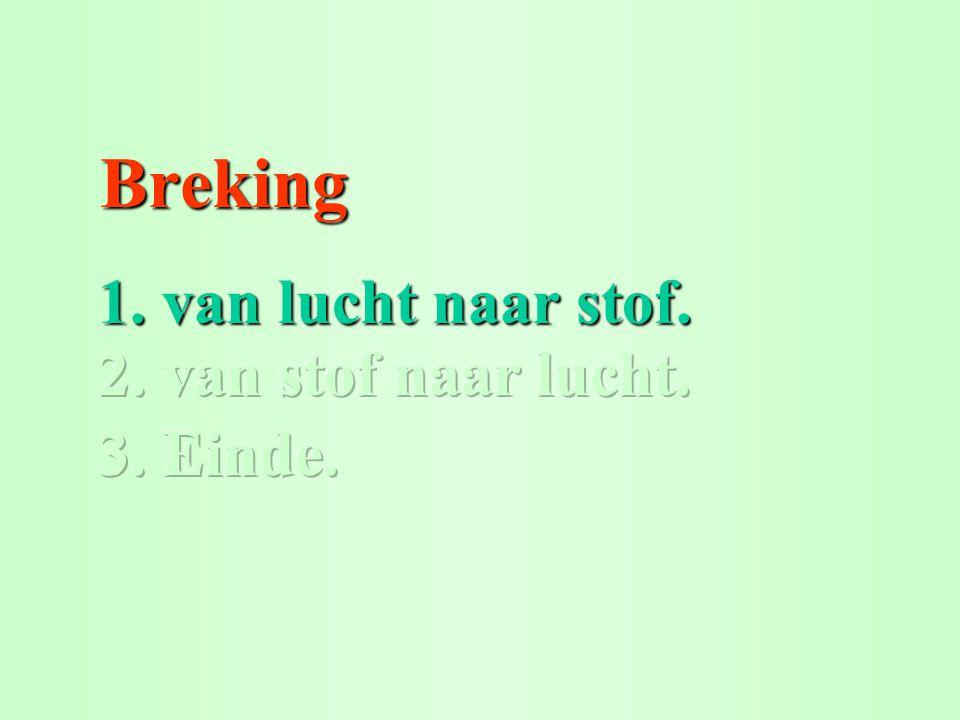 Breking 1. van lucht naar stof. 2. van stof naar lucht. © Het Vlietland College Leiden 3. Einde.