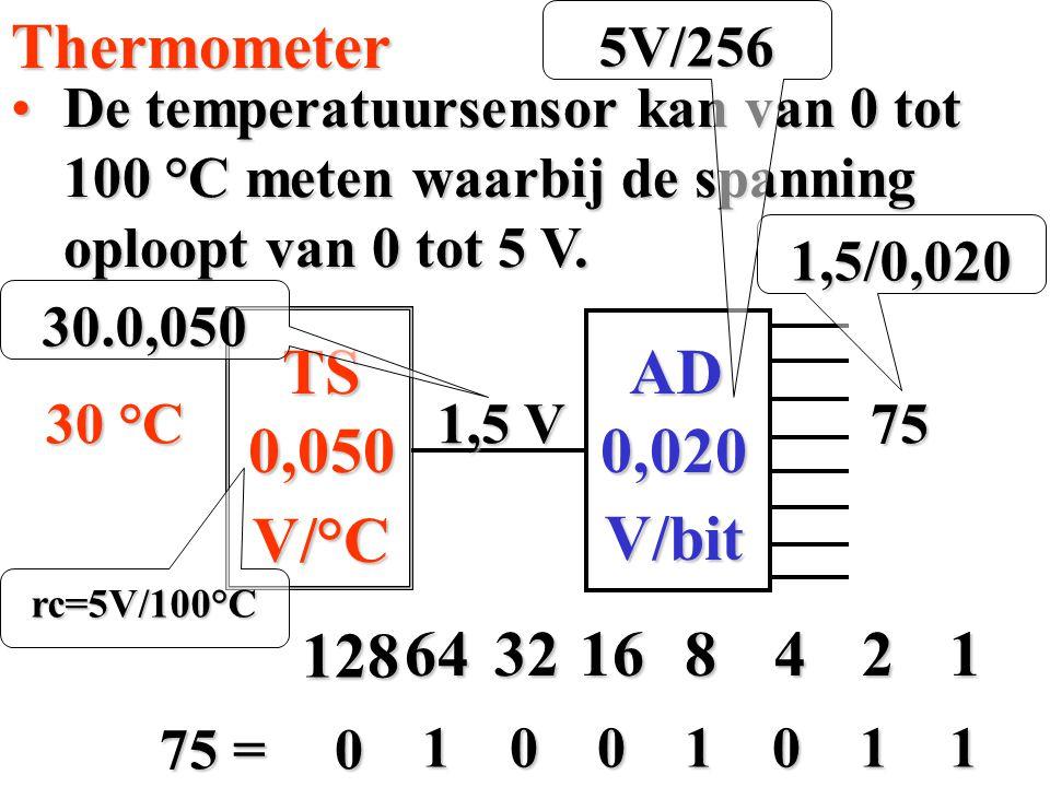 De temperatuursensor kan van 0 tot 100 °C meten waarbij de spanning oploopt van 0 tot 5 V.De temperatuursensor kan van 0 tot 100 °C meten waarbij de s