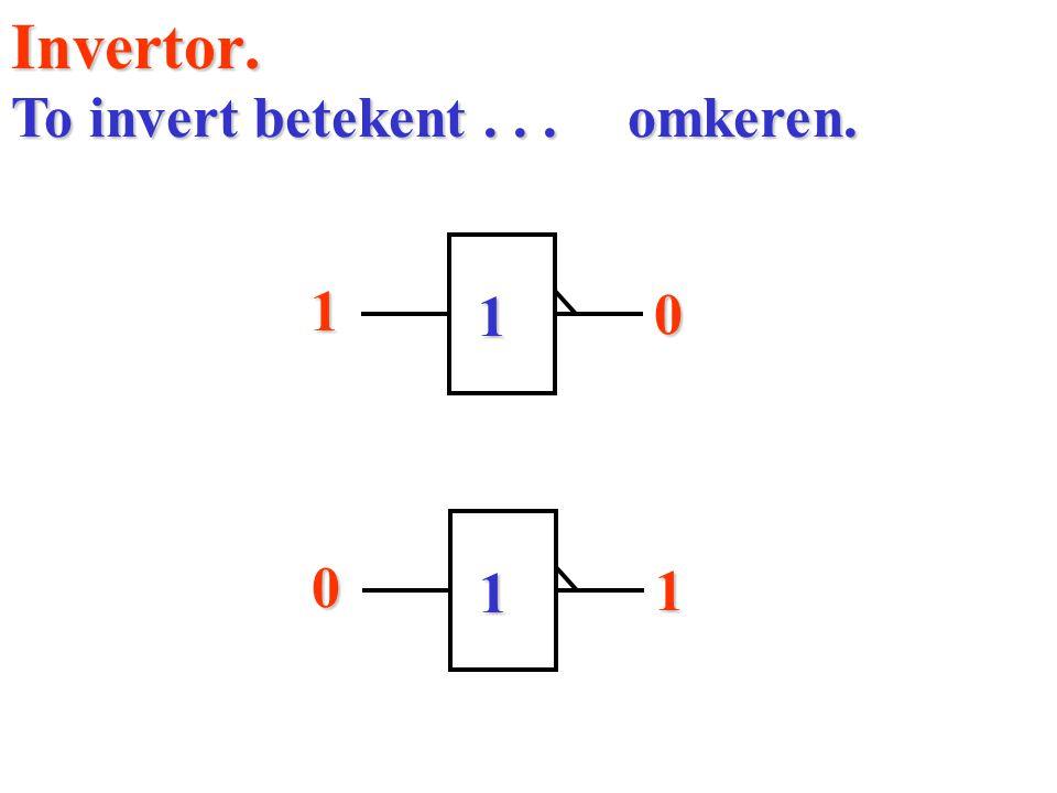 Invertor.1 0 To invert betekent... omkeren. 1 0 1 1