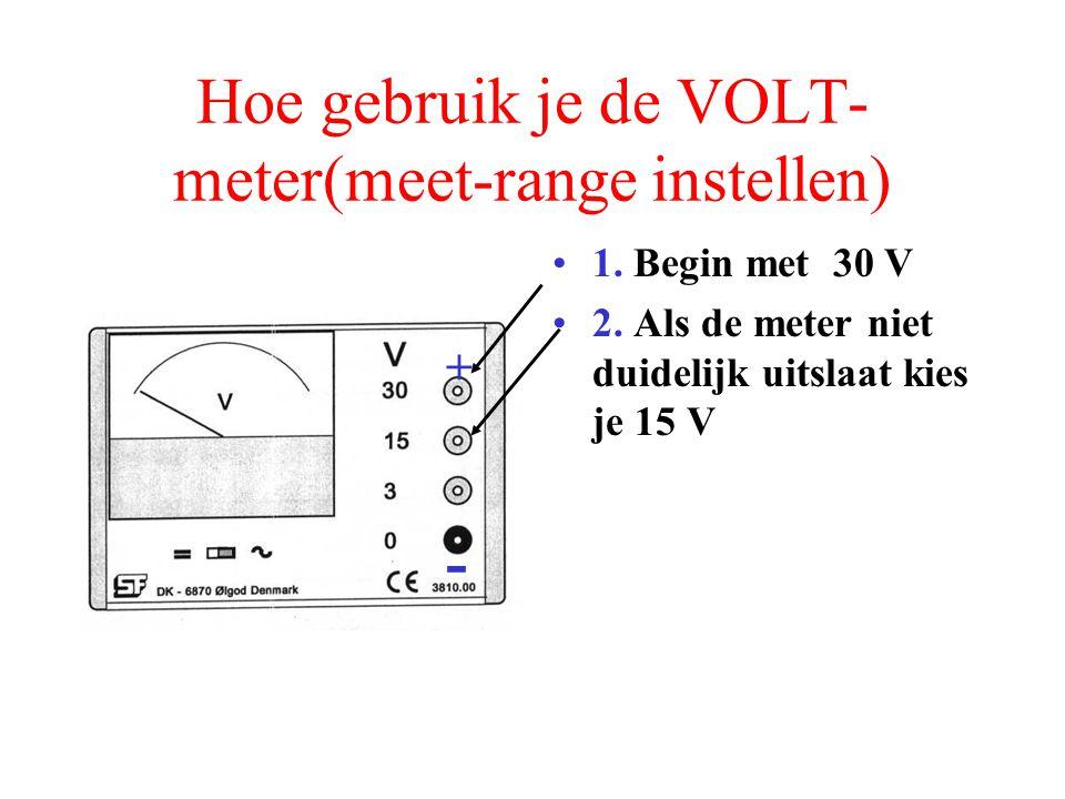 Hoe gebruik je de VOLT- meter(meet-range instellen) 1. Begin met 30 V - +