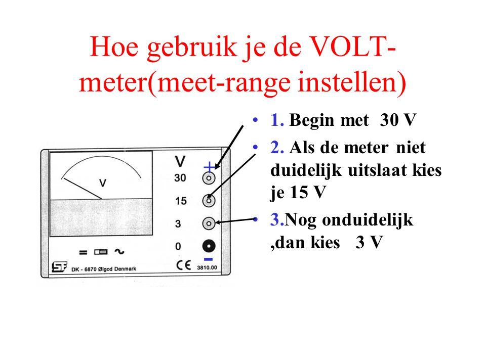 Hoe gebruik je de VOLT- meter(meet-range instellen) 1. Begin met 30 V 2. Als de meter niet duidelijk uitslaat kies je 15 V - +