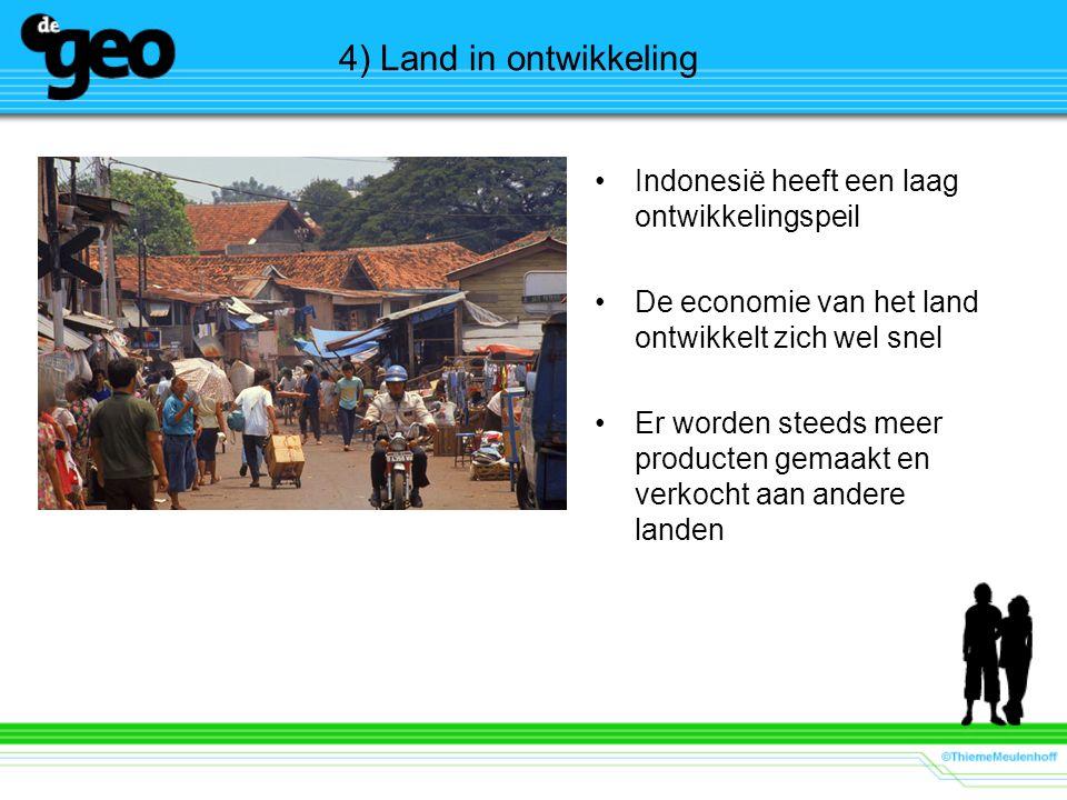 4) Land in ontwikkeling Indonesië heeft een laag ontwikkelingspeil De economie van het land ontwikkelt zich wel snel Er worden steeds meer producten g